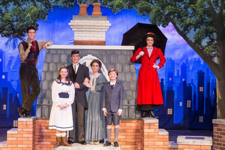 Trumbull residents Anais Anderson, Isabella Brinkman, and Christopher McGoldrick join Noah Vaca of Southport, Richard Guinta of Fairfield and Hannah Ericksen of North Haven on stage for the Christian Heritage School's production of Mary Poppins. Anderson will play the title character, while Brinkman is playing Banks and McGoldrick is reprising his role of Michael Banks, which he played in the Trumbull Youth Association's production of the play in summer 2015.