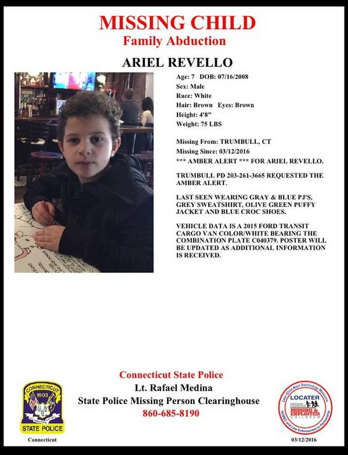 A missing child poster for Ariel Revello, who was abducted by his father Saturday morning from a home on Unity Road.