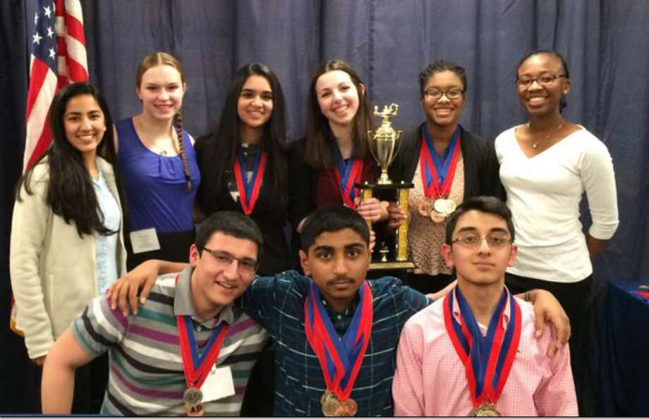 Members and alternates of the THS Academic Decathlon Team who competed at the CTAD state competition on March 5, 2016 at New Fairfield High School. Top row left to right: Srishti Pathadia, Elisabeth Stankevitz, Saloni Shah, Alexandra Dima, Daejah Woolery, and Danielle Cross. Bottom Row left to right: Viraj Dongaonkar, Lalith Gannavaram, and Ishan Negi. Not pictured: Harshpreet Singh.