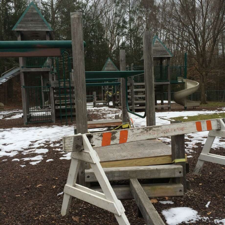 Kids can't play at the playground inside Indian Ledge Park. — Steve Coulter photo