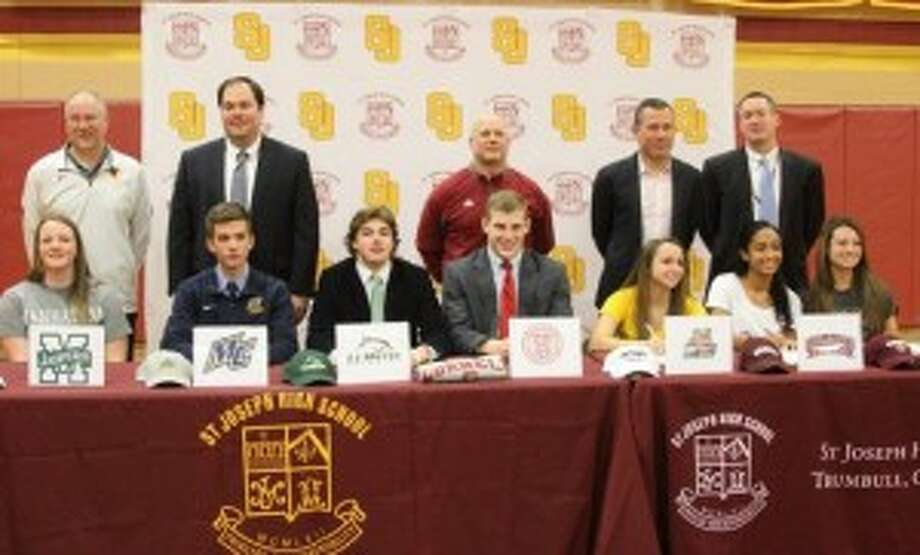 St. Joseph High's Nicole Williams, Manhattan College, Nick Zannis, Merrimack College, Mike Sudora, Le Moyne College, Cameron Ryan, Cornell University, Marissa Grasso, Bryant University, Leah Lewis, Colgate and Jenna Bike, Boston College signed National Letters of Intent.