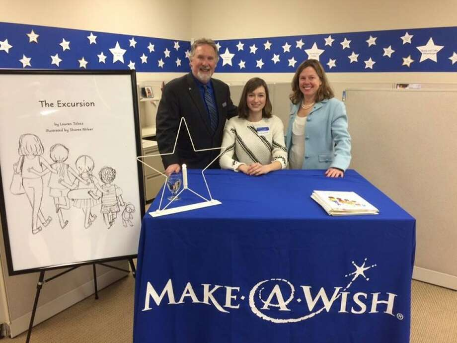 "Lauren Telesz, Make-A-Wish Board Chair Keith Herzig, and Make-A-Wish President and CEO Pam Keough at last week's ""Wall of Stars"" event. Telesz, a 17-year-old Fairfield resident, was granted her wish to become a published author."