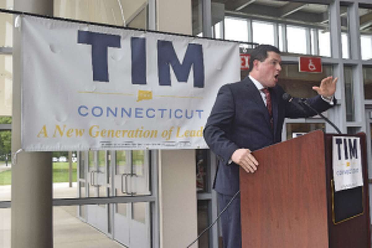 First Selectman Tim Herbst emphasizes a point during his speech announcing his intention to run for governor. - Dylan Haviland photo
