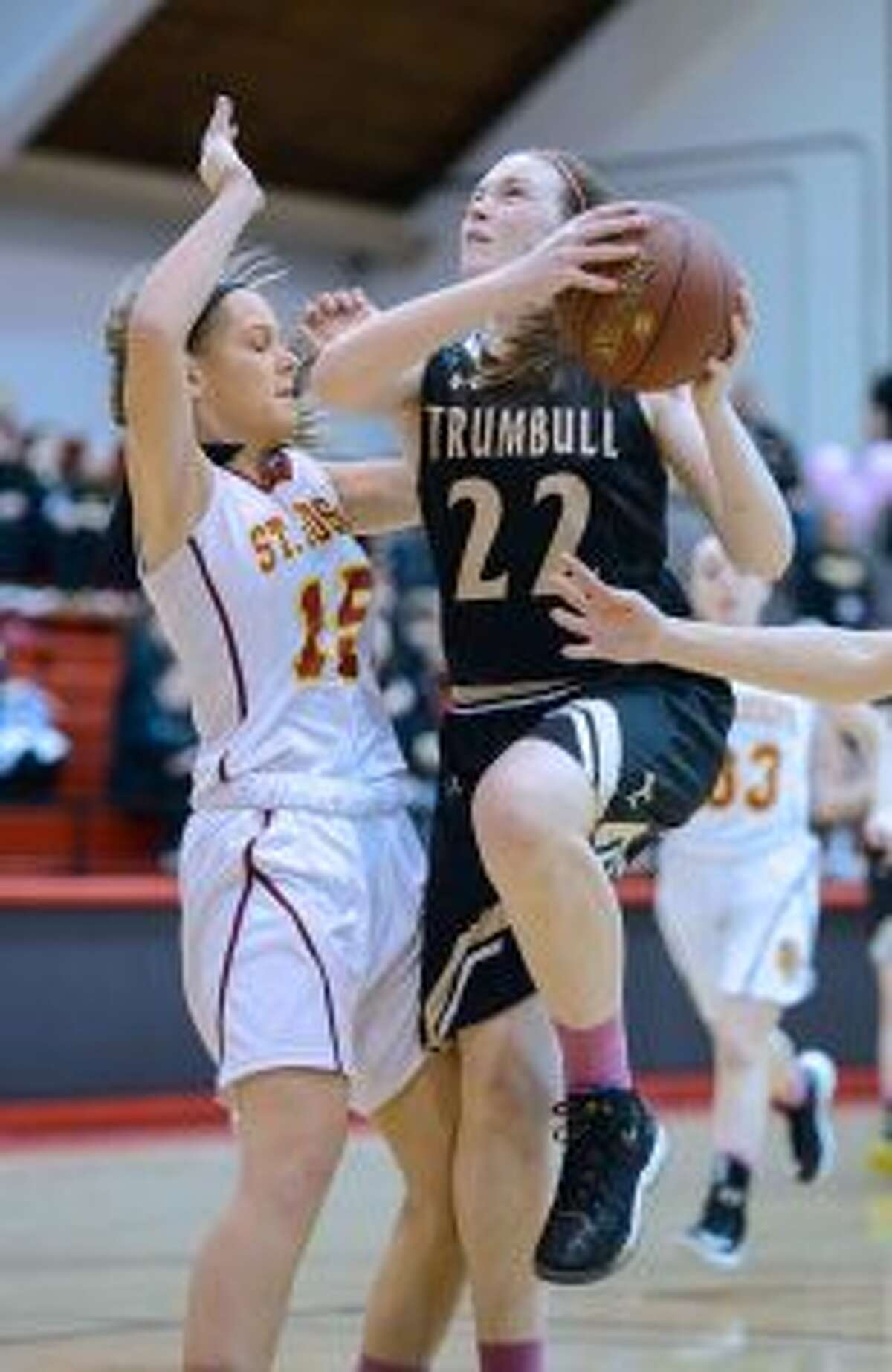 Trumbull High's Aisling Maguire scored seven points versus the Crusaders. - David G. Whitham photo