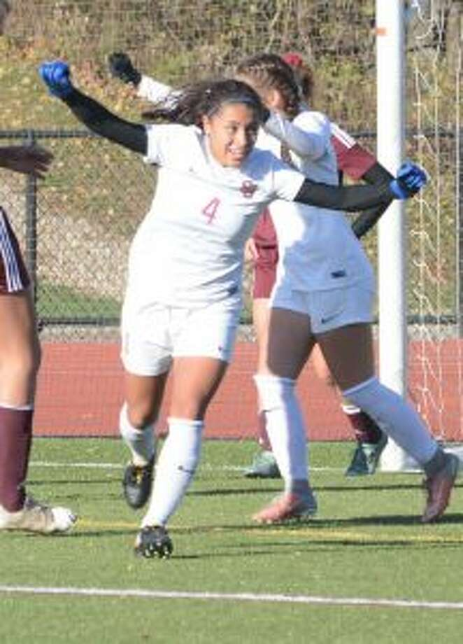 Jessica Mazo celebrates after scoring one of her two goals in the 5-1 victory. — Andy Hutchison photos