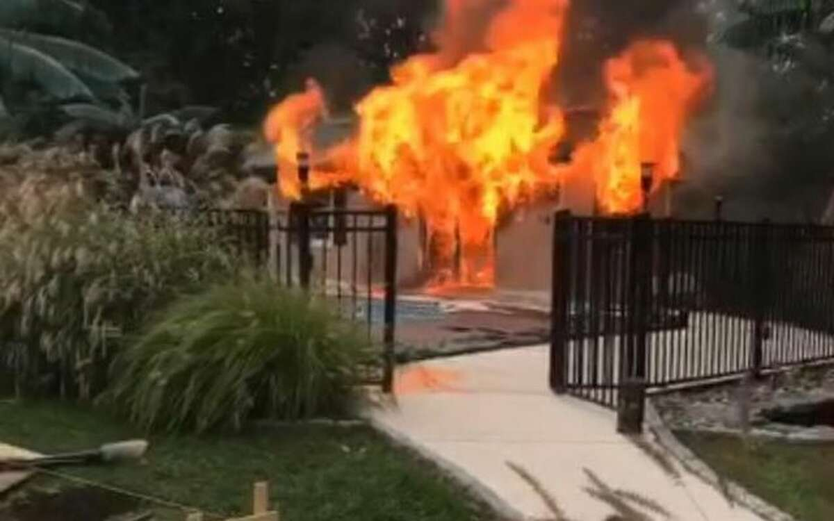 The Long Hill Volunteer Fire Co. responded to a Trumbull home this afternoon to extinguish a fire in the house's pool building. More information when available. - LHVFC photo