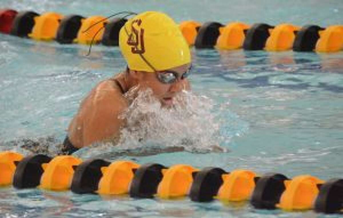 Gabby Saavedra competes for St. Joseph in the 100 breaststroke.