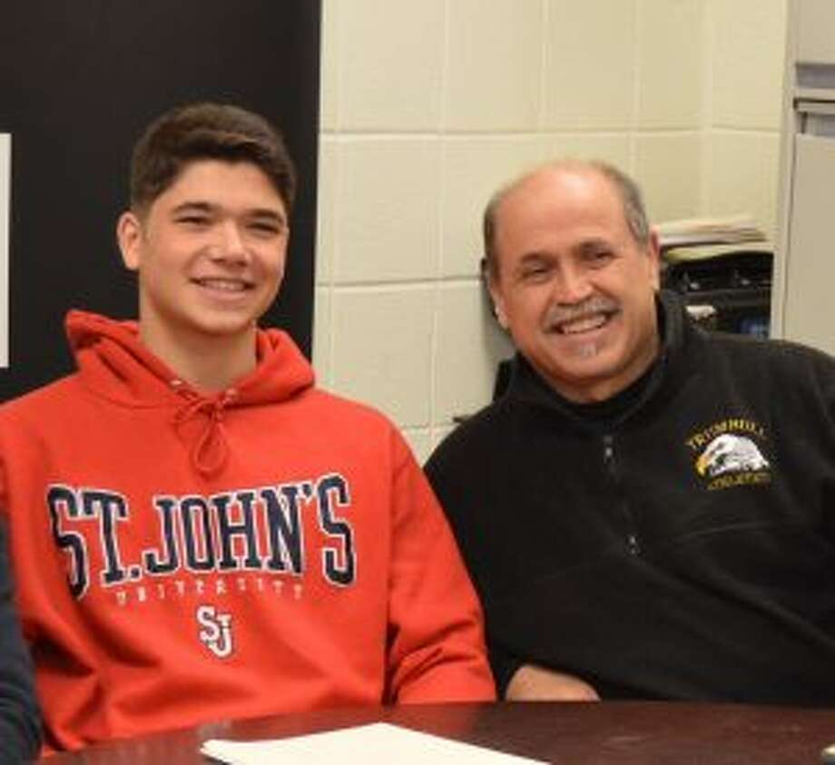 Sebastian Gangemi joins Trumbull High standout Chris Lancia at his signing to play at St. John's.
