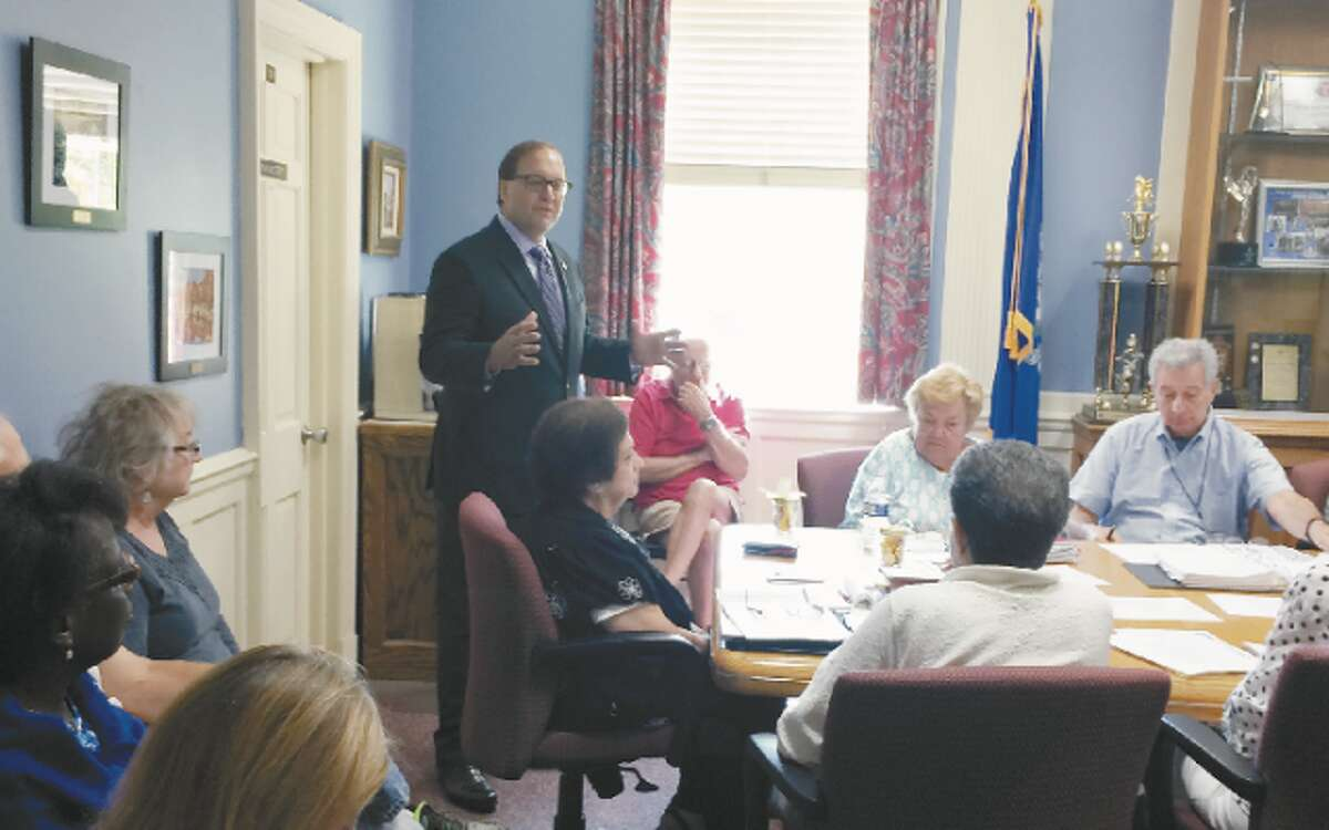 Republican First Selectman candidate Paul Lavoie speaks to the Trumbull Senior Commission.