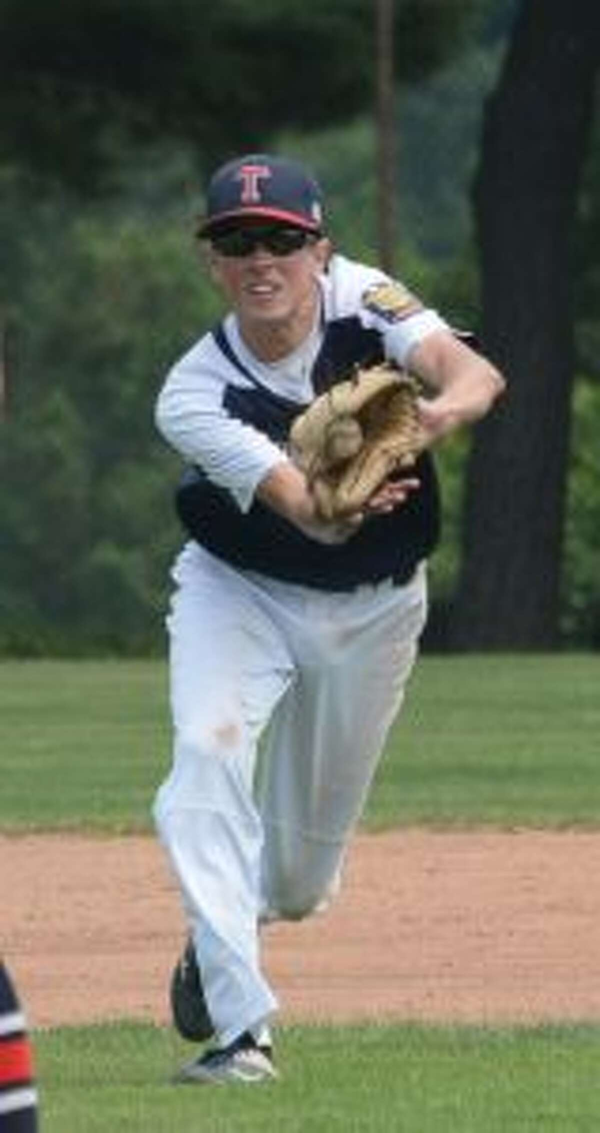 Trumbull's Thomas Krois gloves a line drive. - Andy Hutchison photos