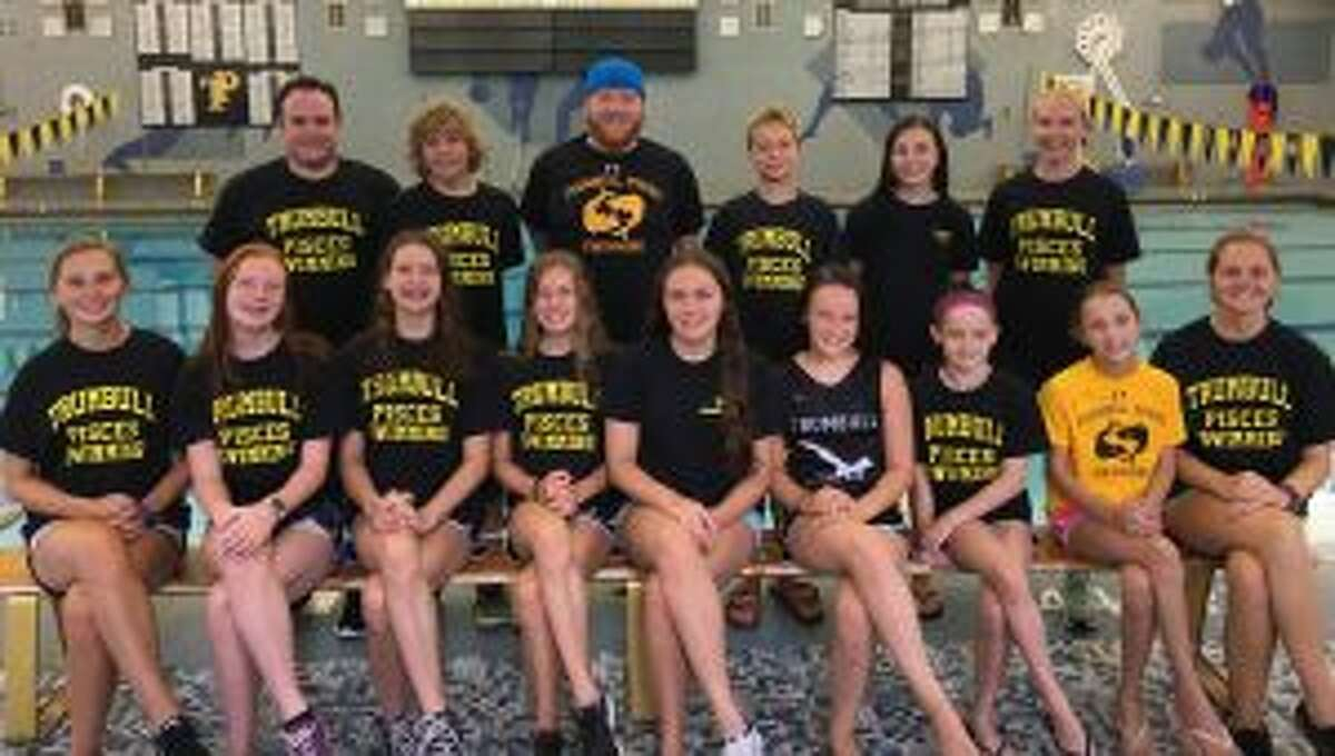 Trumbull Pisces has qualified 12 swimmers for the Age Group Championships. Pictured (front row) are: coach Amanda Daigle, Claire Kehley, Liz Stoelzel, Jacqueline Dale, Anna Haydostian, Kristen Racicot, Keira Redgate, Sarah Johnson, and coach Jessica Daigle; (second row) coach Chris Fracker, Cameron Kosak, coach Bill Strickland, Alexander Ivanovich, Norah Hampford and coach Colleen Carroll. Missing from photo are Rohit Gunda and Nicholas Paolella.