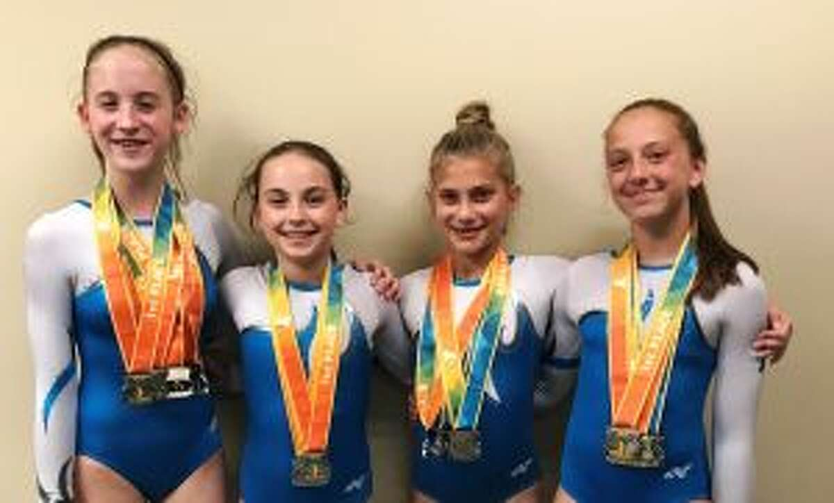 First-place finishers for Trumbull-Lakewood YMCA at the YMCA Gymnastics National Championships were Lily Ayres, Sarah Bogen, Samantha Sullivan and Talia Lalli.