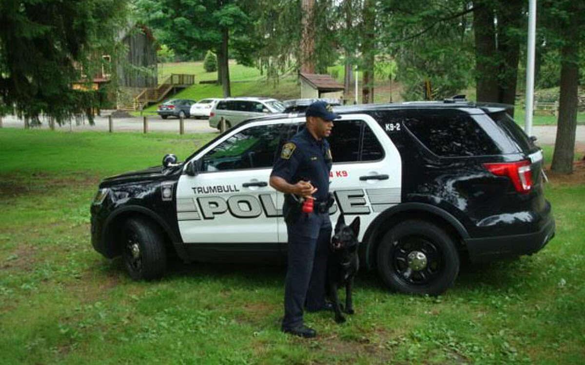 Trumbull Officer Greg Lee with K-9 officer Storm. Officer Lee answered questions of interest from the guests.