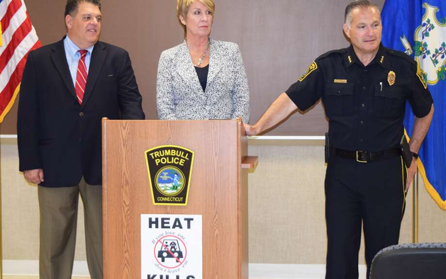 State representatives David Rutigliano and Laura Devlin join Police Chief Michael Lombardo to introduce the Heat Kills program in Trumbull.