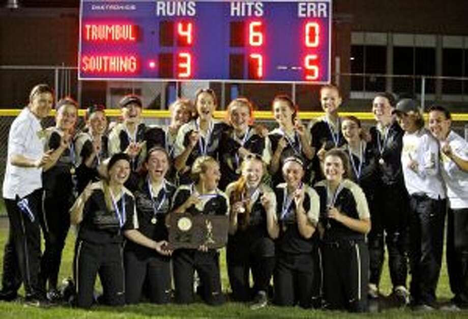 Trumbull High softball earned its first state championship, and was named the No. 1 team in the final state poll. Team members are Briana Giacobbe, Camryn Gruner, Julia Huzi, Ava Dunn, Emily Gell, Alexa Adinolfi, Maggie Coffin, Courtney Fairchild, Haley Komorowski, Erica Fluskey, Ally Szabo, Lea Thompson, Delilha DeStefano, Meghan Geraghty, Stephanie Liptack and Taylor Brown. Head coach Jacqui Sheftz was assisted by Erica Christopher, Marylu Matott and Kelley Larsen. — Terry Dinan photo