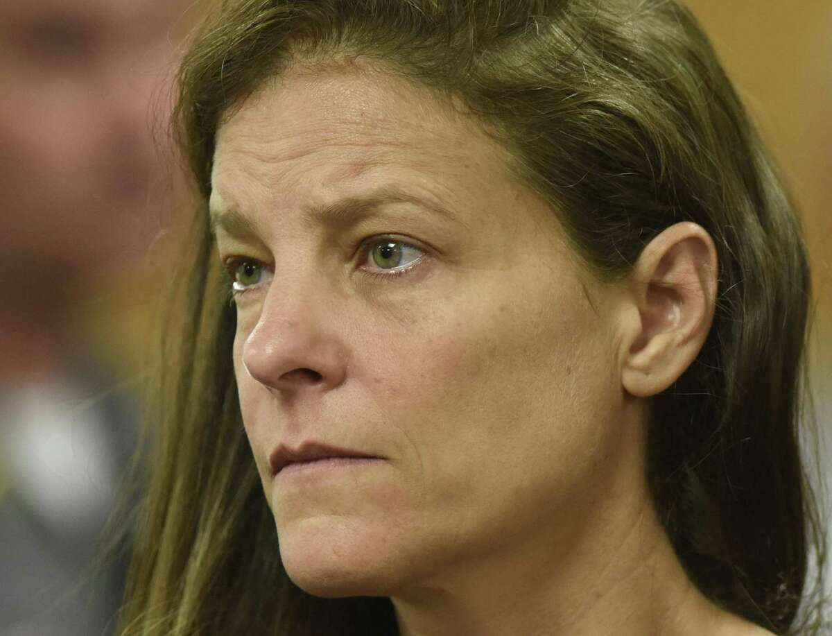 Michelle C. Troconis, 44, is arraigned on charges of tampering with or fabricating physical evidence and first-degree hindering prosecution at Norwalk Superior Court in Norwalk, Conn. Monday, June 3, 2019. Fotis Dulos, 51, and his girlfriend, Michelle C. Troconis, 44, were arrested at an Avon hotel late Saturday night and held on a $500,000 bond for charges of tampering with or fabricating physical evidence and first-degree hindering prosecution. Fotis Dulos is the estranged husband of Jennifer Dulos, the 50-year-old mother of five who has been missing since May 24.