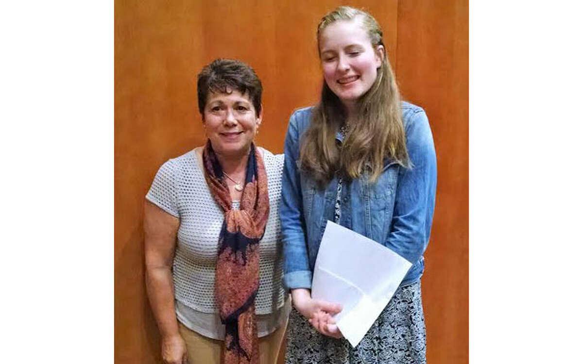 Long Hill Garden Club co-president Jamie Stadler and scholarship recipient Elise Rimkunas.