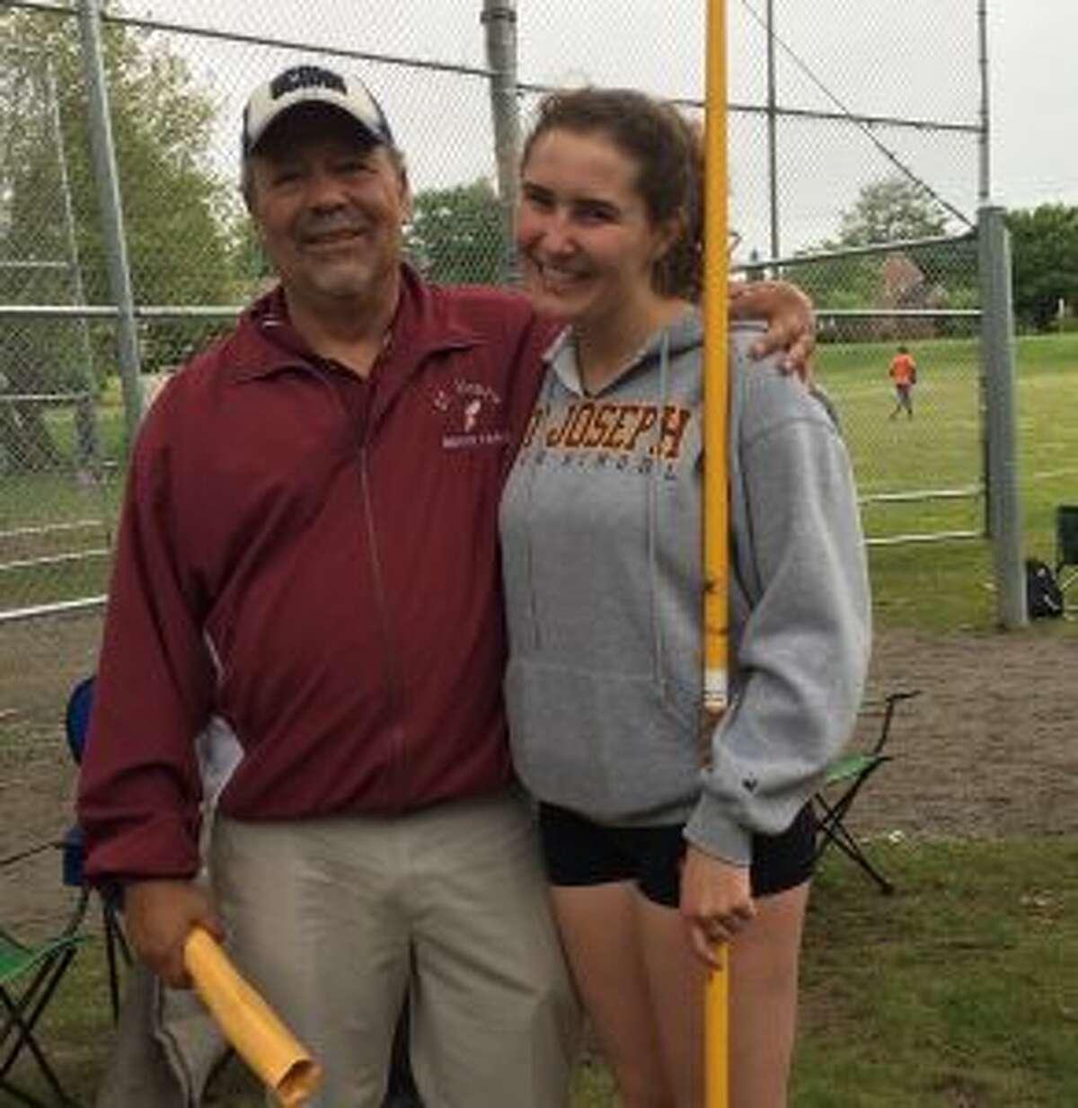 State Open champion Sophia Jagoe-Seidl and Cadet coach Gary Schmidlin.