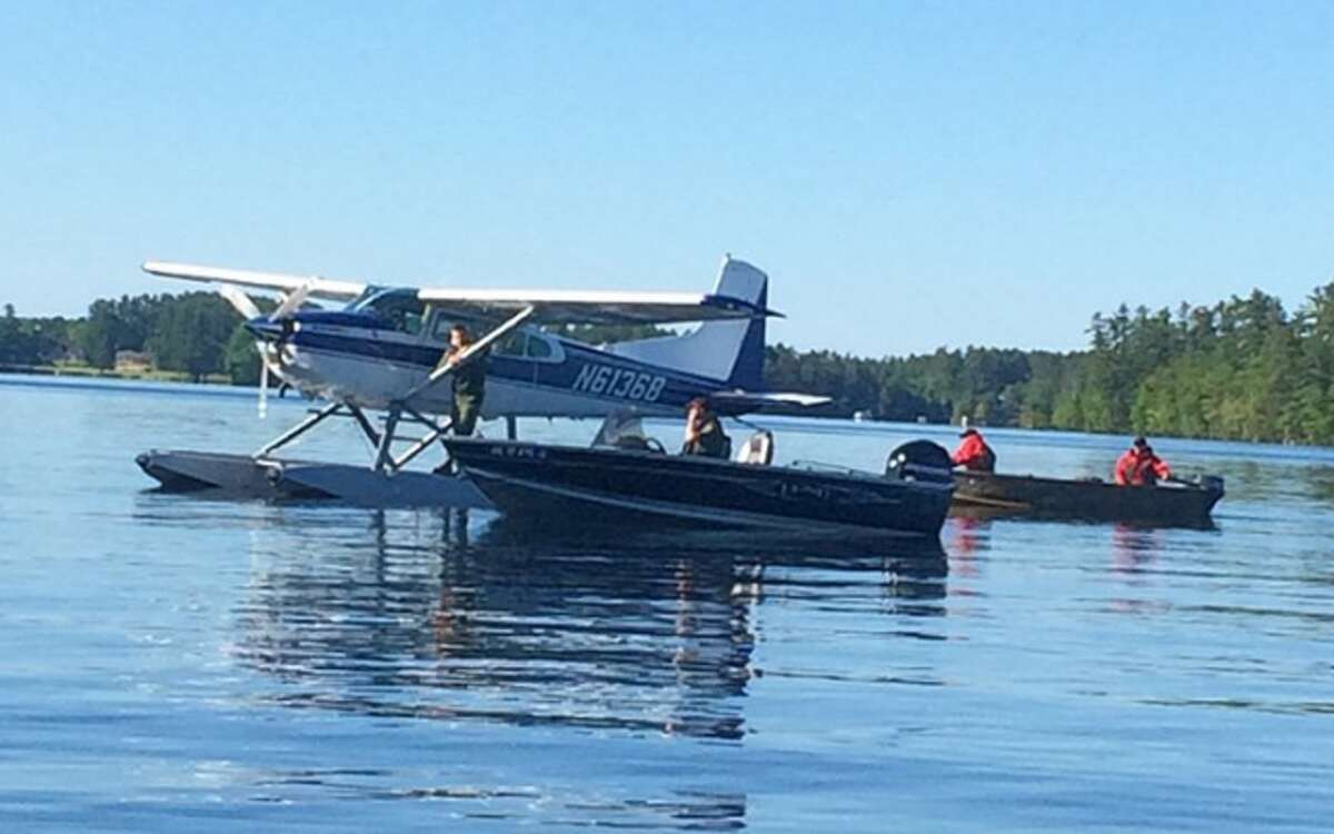 A search plane and numerous boats were used in the search for Christopher Hughes. - Maine Warden Service photo