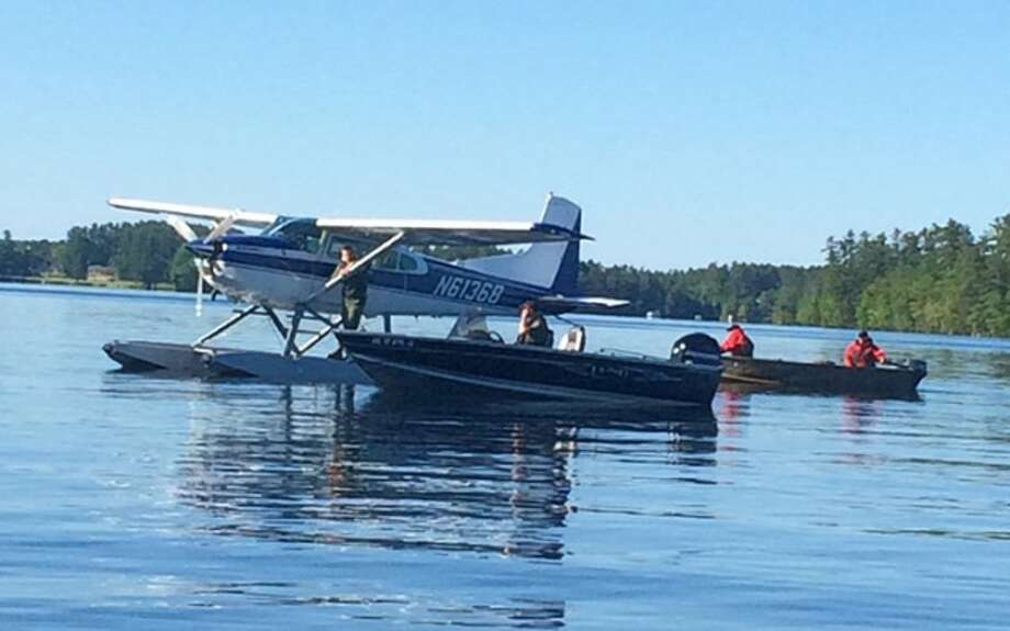 A search plane and numerous boats were used in the search for Christopher Hughes. — Maine Warden Service photo