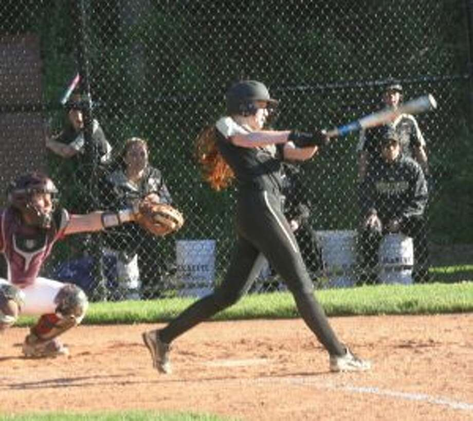 Taylor Brown was one of three Trumbull High seniors who knocked in runs for the Lady Eagles. — Bill Bloxsom photo