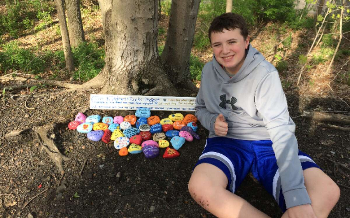 Colin MacNeill recently created a Kindness Rocks garden as part of his National Junior Honor Society service project. - Submitted photo