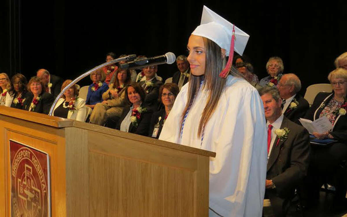 Angela Miano of Trumbull, whose grade point average topped the accelerated class, delivered a message from graduates at the commencement ceremony. Lisa Eldridge, also from Trumbull, had the second highest GPA in the accelerated class.