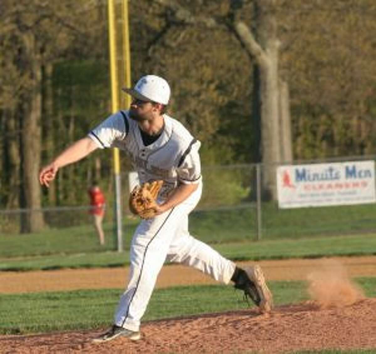 Andrew Lojko tossed a two-hit shutout when Trumbull High defeated Wilton High 1-0. - Bill Bloxsom photo