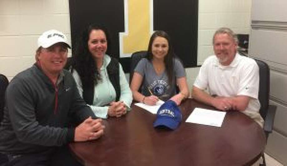 Alexa Brown was joined by her parents Bobby and Jami Brown and Trumbull golf coach Andrew Durfee when she signed to play collegiately at Central Connecticut State University.