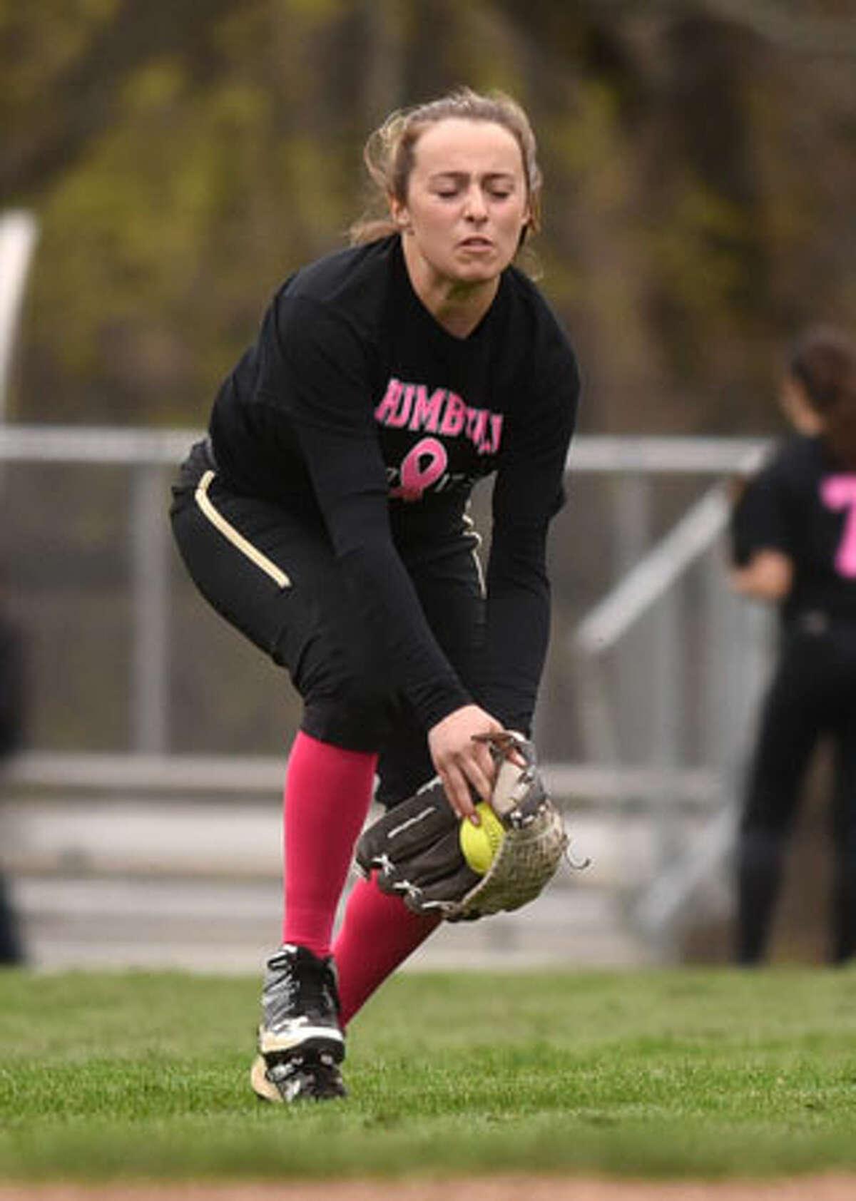 Alexa Adinolfi makes a running catch in centerfield. - Dave Stewart photo
