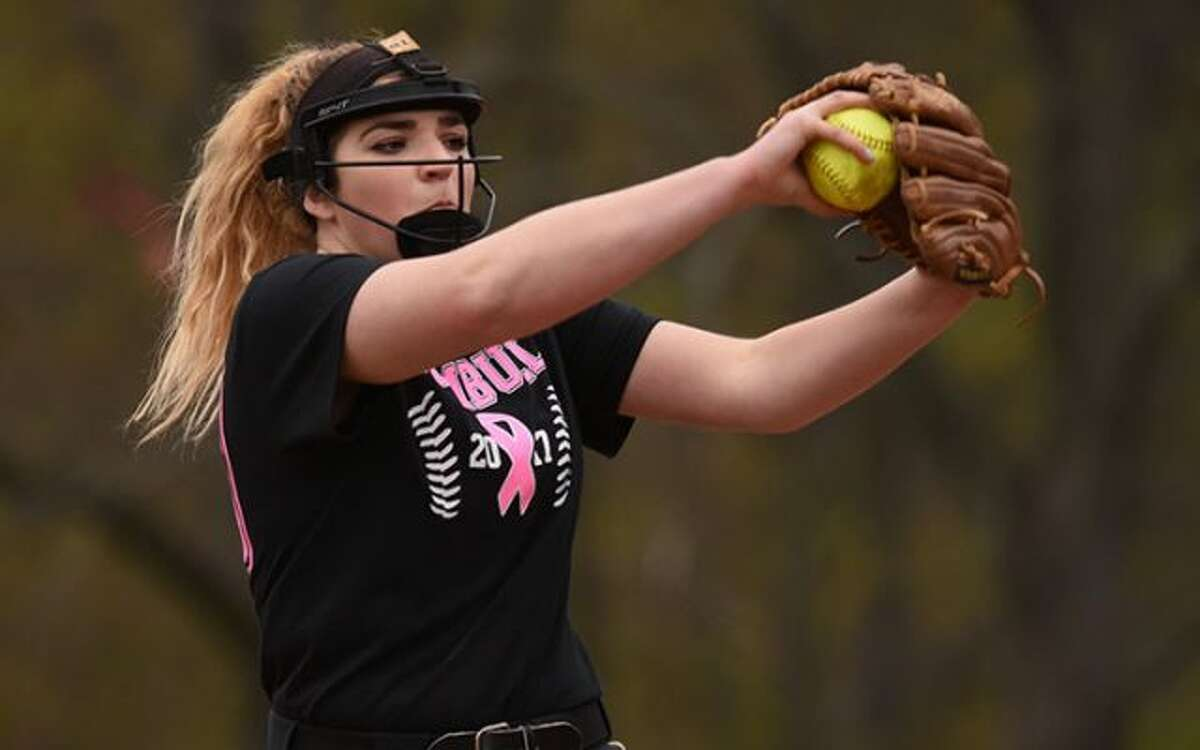 Ally Szabo in the wind up during Trumbull's 3-0 eight-inning win over the Rams Monday in New Canaan. - Dave Stewart photo