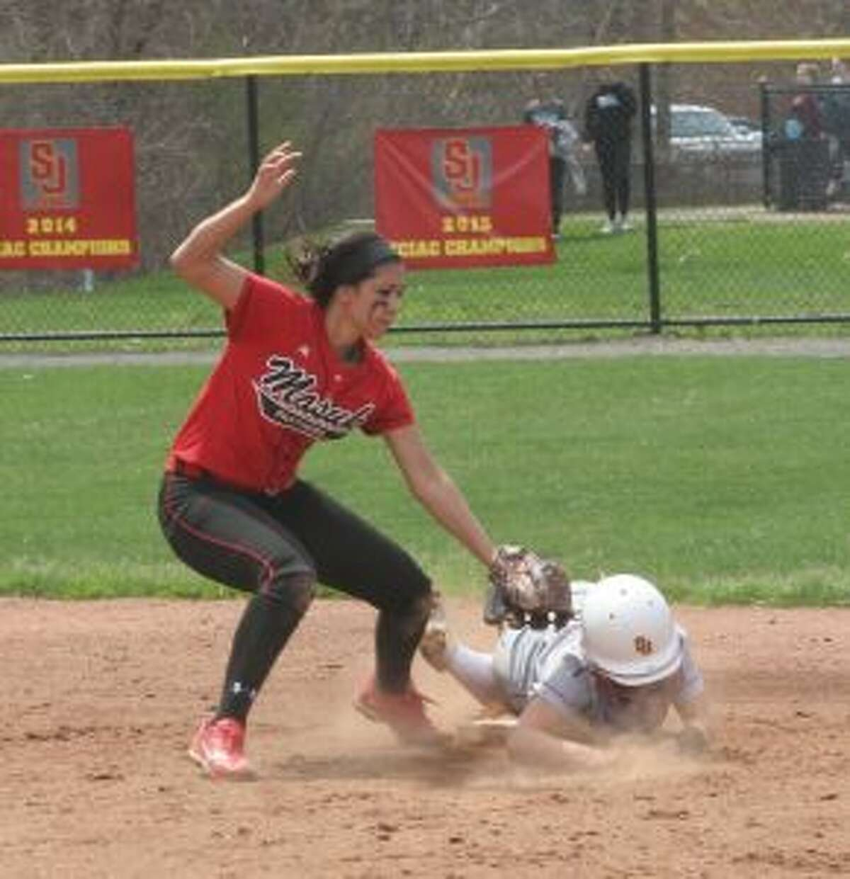 Hanna Errico gets back to the bag after stealing second base.