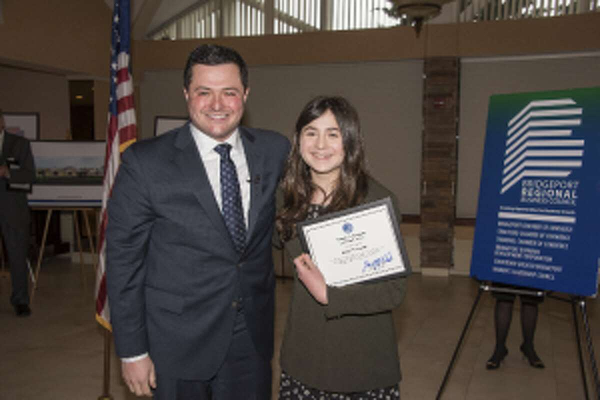 Herbst and Rachel Weintraub, recipient of a Clarence Heimann Leadership Award for her anti-bullying efforts.
