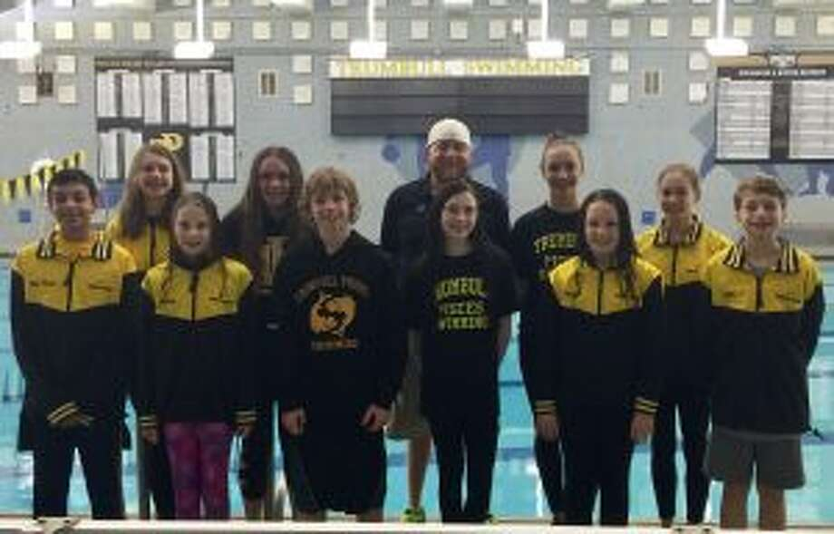The Trumbull Pisces will be well represented at the CT State Age Group Championships. Pictured (front row) are: Raj Padda, Audrey Kehley, Cameron Kosak, Norah Hampford, Kristen Racicot and Alexander Ivanovich; (second row) Elizabeth Stoelzel, Anna Hoydastian, head coach Bill Strickland, Julia Nevins and Jacqueline Dale.