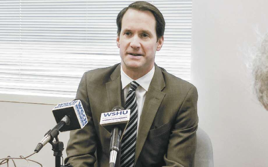 U.S. Rep. Jim Himes meets with reporters Tuesday.
