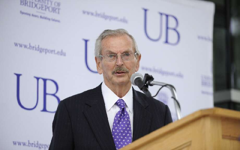 Ernest Trefz speaks at the dedication of the Ernest C. Trefz School of Business at the University of Bridgeport in 2014 — University of Bridgeport photo