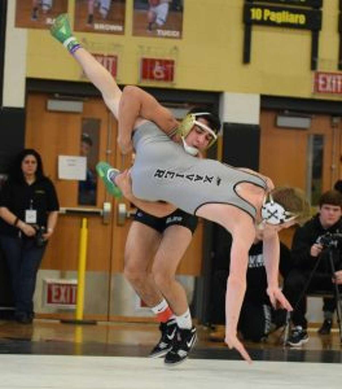 Michael Mirmina gets a takedown in his Class LL semifinal win. - Dee Sollenberger