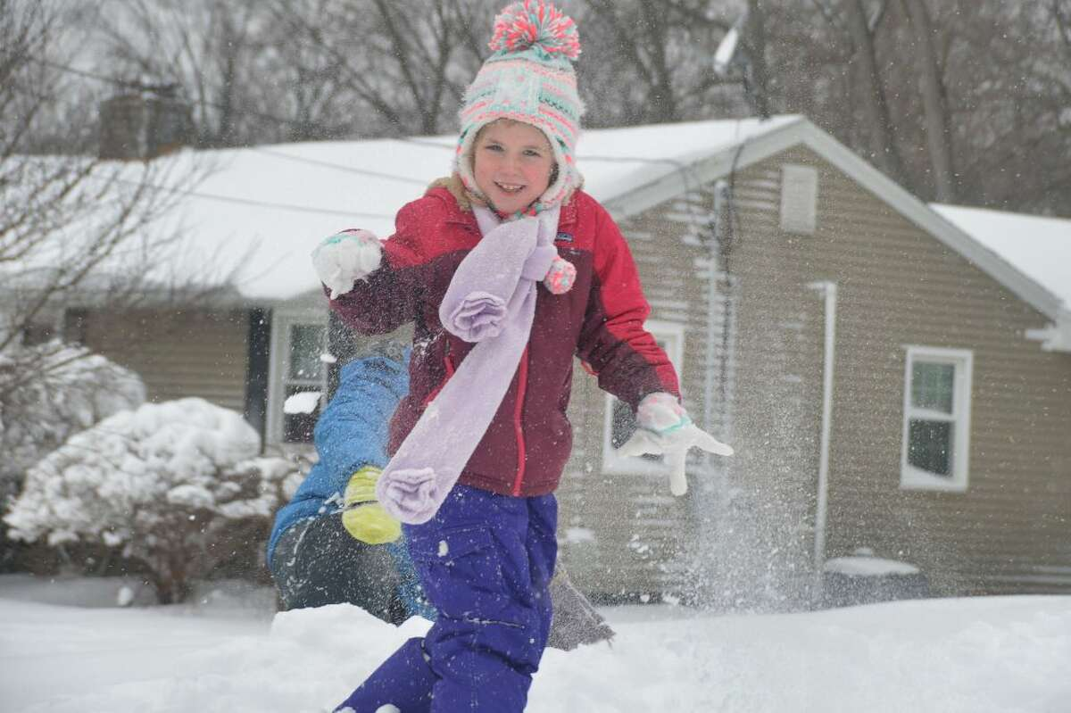 7 yr old Maura & 10 yr old brother Aidan Brunt play in the snow!