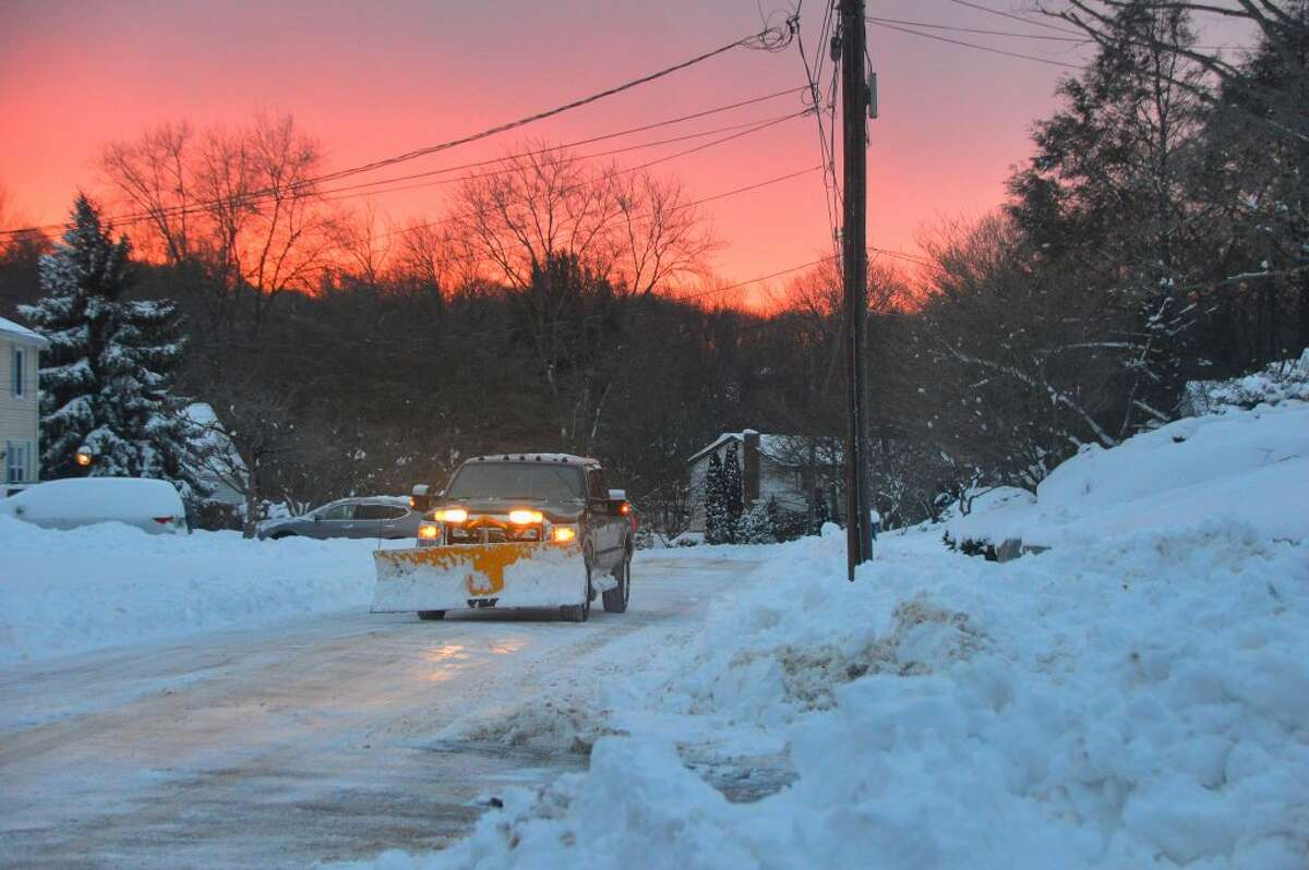 Plow on Inwood Rd as Sunsets Trumbull CT