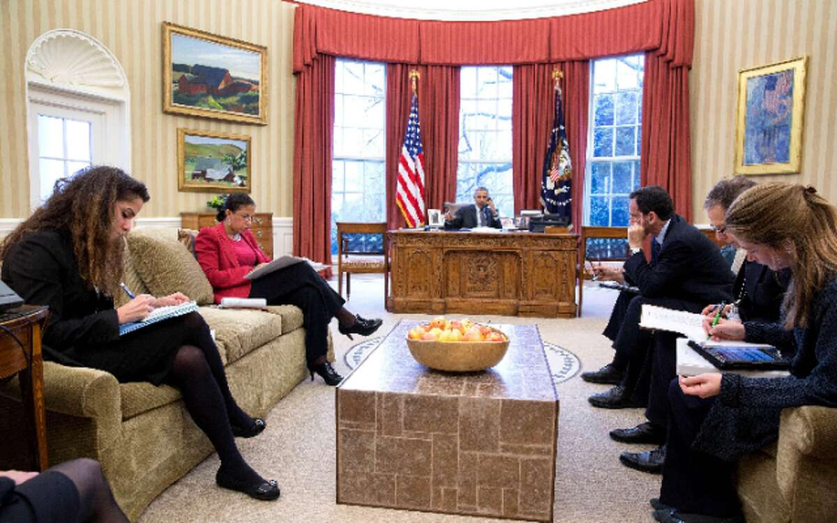 President Barack Obama talks on the phone with Chancellor Angela Merkel of Germany in the Oval Office, March 27, 2015. Attendees from left are Sahar Nowrouzzadeh, Director for Iran; National Security Advisor Susan E. Rice; Phil Gordon, White House Coordinator for the Middle East, North Africa, and the Gulf Region; Charles Kupchan, Senior Director for European Affairs and Avril Haines, Deputy National Security Advisor. - Official White House Photo by Pete Souza