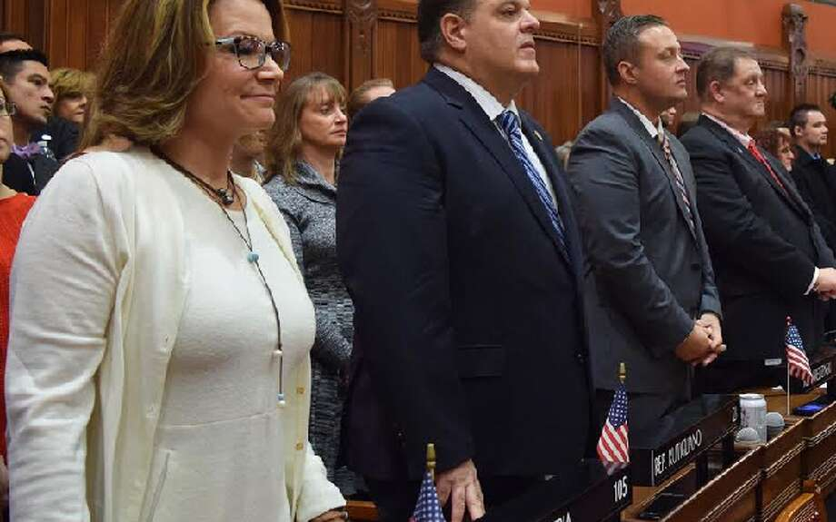 State Rep. David Rutigliano, center, has been named Republican whip for the current legislative session. — Submitted photo