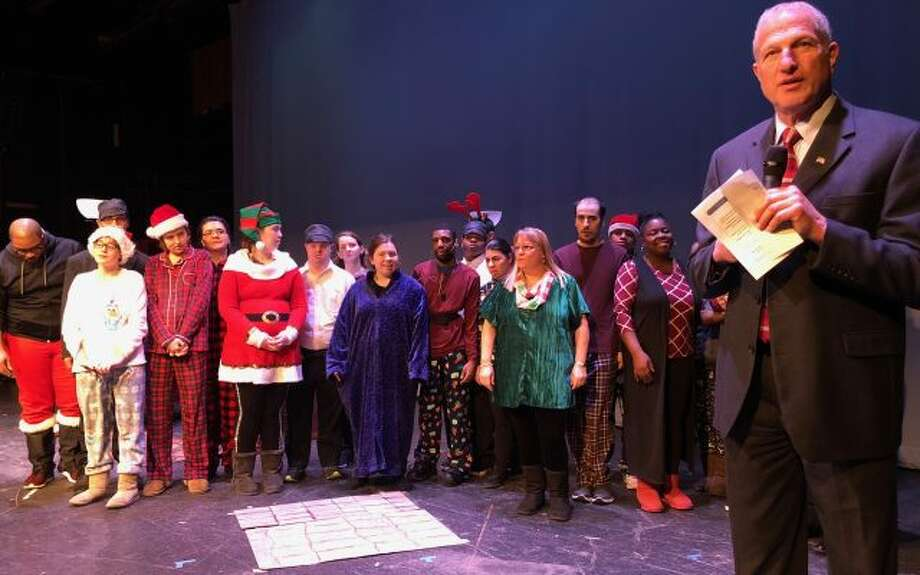 Mayor Mark Lauretti speaks prior to last Wednesday's production of The Polar Express at Center Stage Theatre. — Brian Gioiele photo