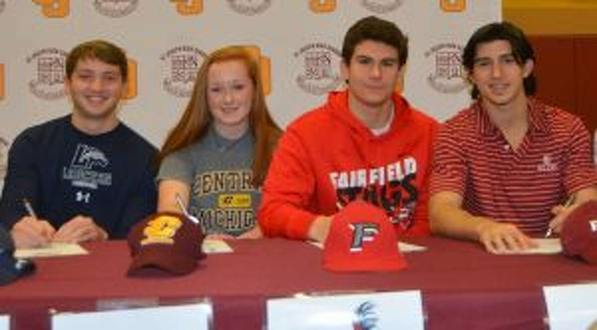 Sawyer Meehan, Erin Owens, Charlie Pagliarini and Stephen Paolini sign letters of intent.