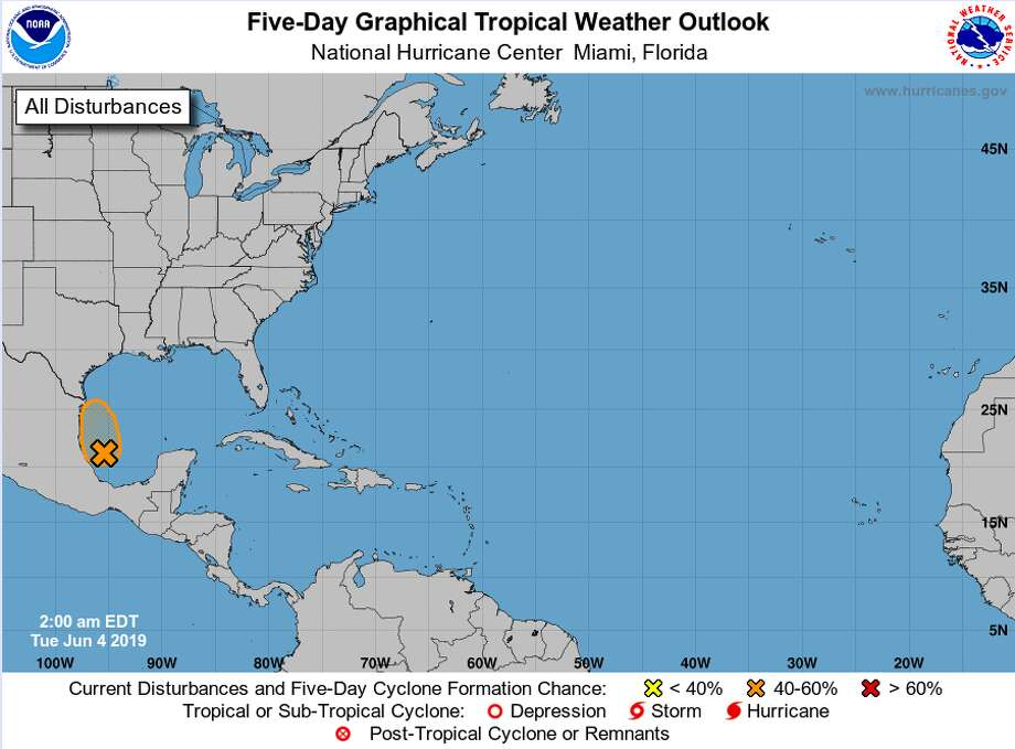 Meteorologists predict a 50 percent chance of this tropical disturbance forming into a cyclone later today, before it moves toward the northeastern coast of Mexico.  Photo: National Hurricane Center