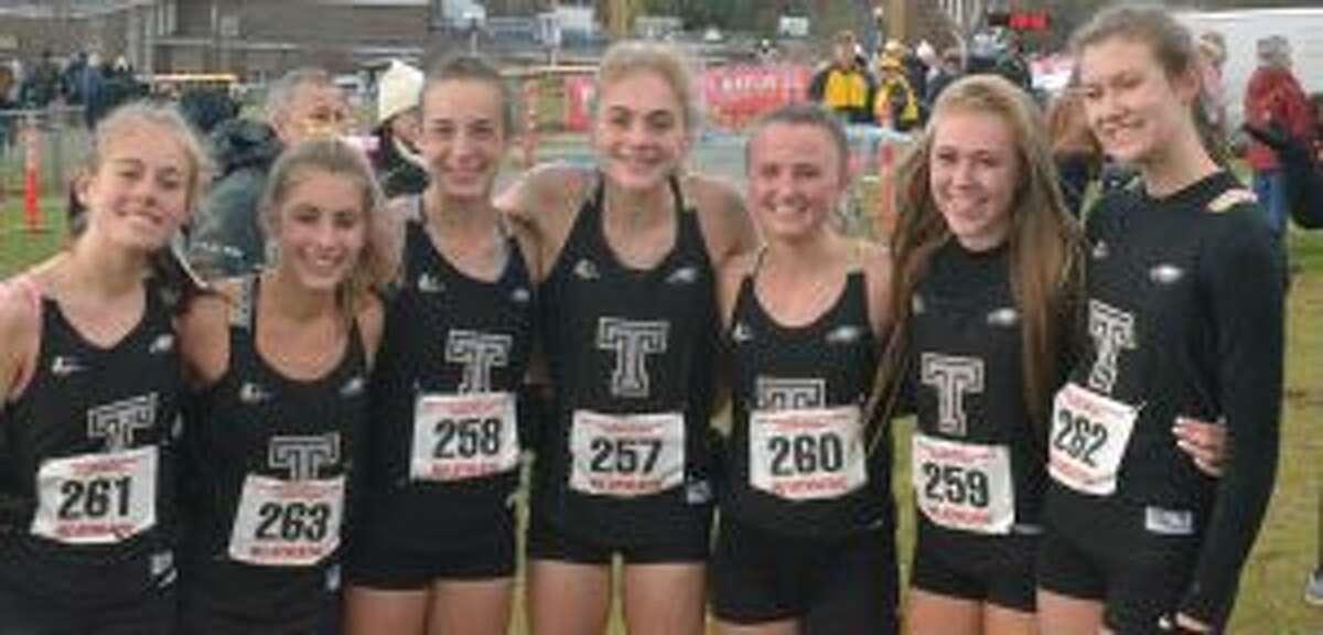 Trumbull posted its best-ever finish at the New England Championship race. Team members include Rebecca Margolick, Alessandra Zaffina, Calyn Carbone, Emily Alexandru, Maggie LoSchiavo, Kali Holden and Sabrina Orazietti.