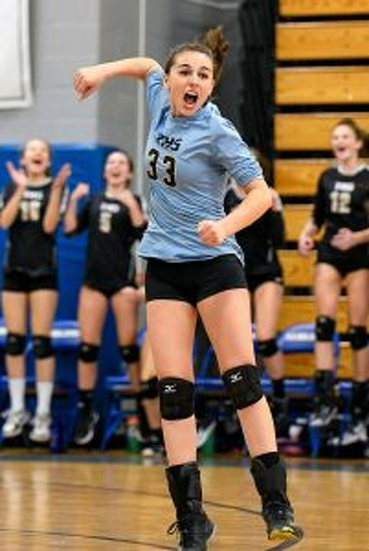 Rachel Hage had 11 digs from her libero position.