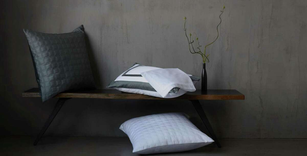 Top: Rana Argenio launched 10 Grove with pillowcases and shams, sheets, coverlets, comforters and duvet covers in four designs and with trim options in white, beige, blue, gray and green. Above: decorative pillow shams are just one option in her bedding lineup.