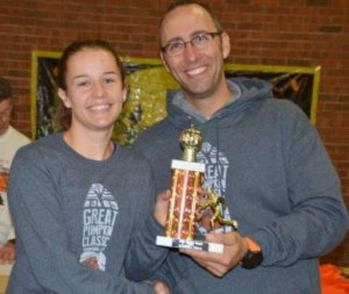 Katelynn Romanchick and Michael John DeMartin placed first at the Great Pumpkin Classic 5K.