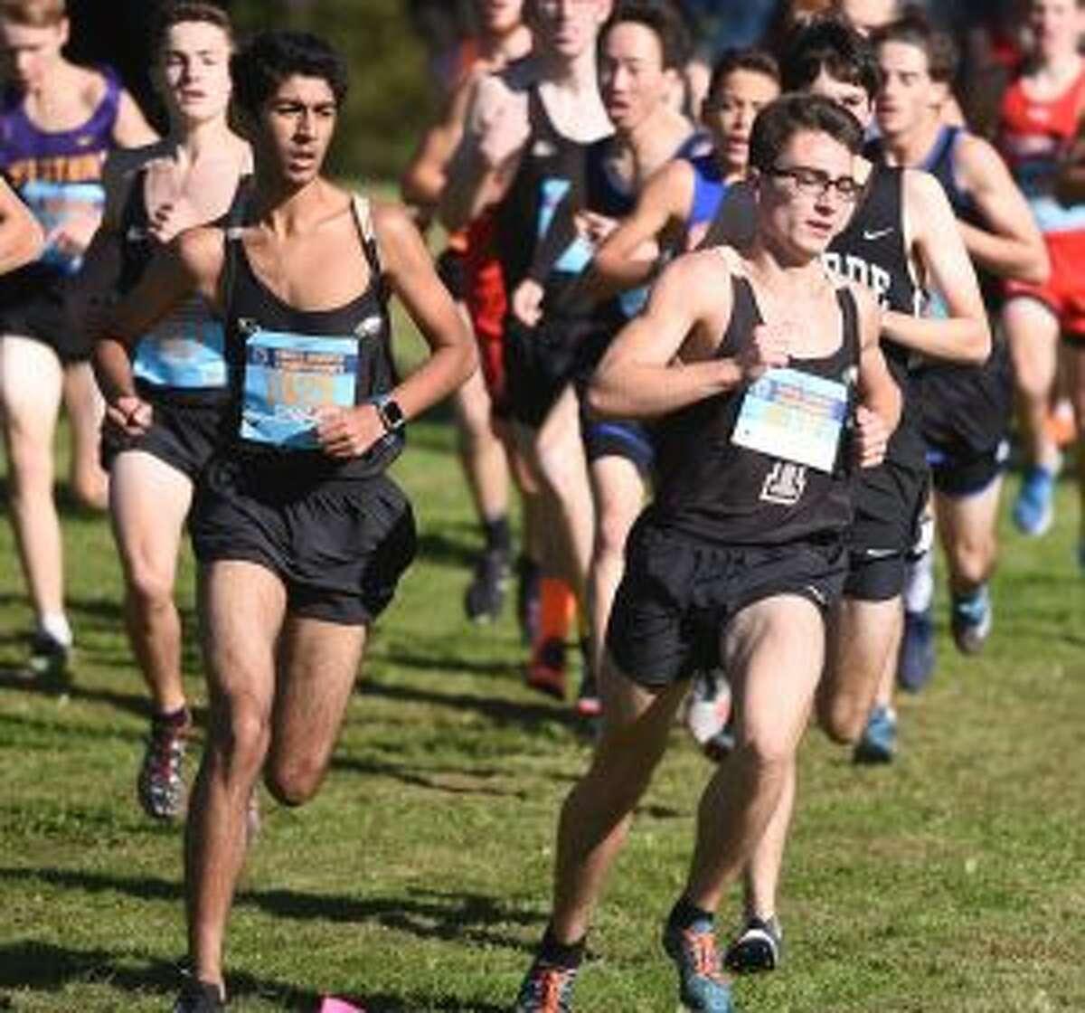 Joe Gregory and Owen Hopwood lead the way. - Dave Stewart photo