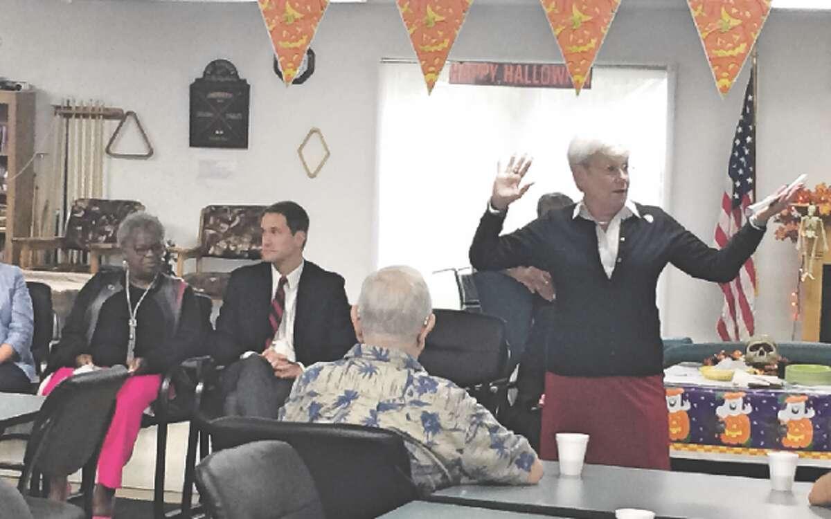 Lt. Gov. Nancy Wyman speaks to residents of Stern Village Tuesday.